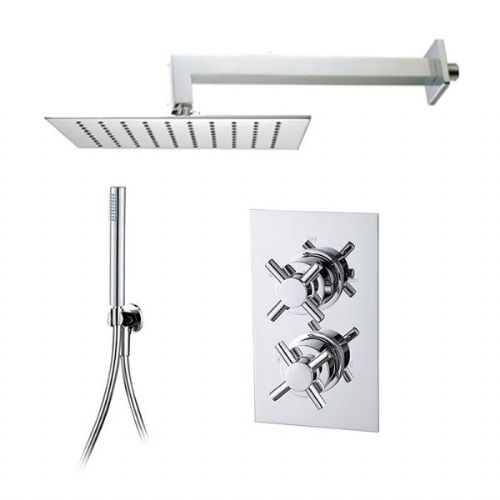 Abacus Emotion Thermostatic Cross Head Concealed Shower Mixer Square Head Slimline Handset - Chrome